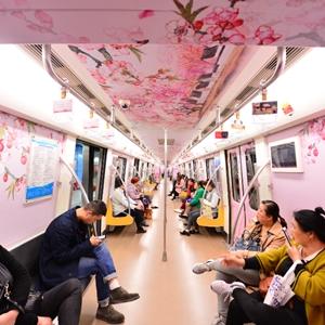 """""""開往春天的列車""""成都地鐵2號線桃花專列開通"""